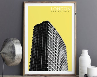 City Prints, LONDON Print, Travel Poster, CENTRE POINT, Architectural Print, Travel Gift, Wall Art Prints, Giclee Print, A3 Print, A2 Print