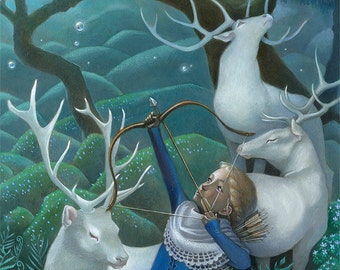 "Girl with Elks Art, 9x12 Archer Girl Painting, Forest Fantasy Art Print,  ""Wishbreaker"""