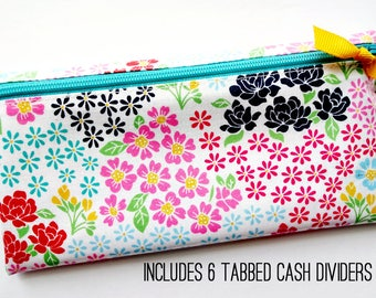 Cash organizer with 6 durable dividers for Dave Ramsey budget   laminated cotton in multicolor flowers