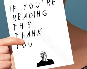 Funny Thank You Card | Drake Card | Hotline Bling | Funny Card | Greeting Card | Drake Thank You Card | Friend Thank You Card | Drizzy OVO