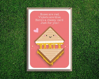 Greeting Cards | Roses are Red Romantic Valentines Day Card Cheesy Grilled Cheese Sandwich Cute Funny Silly Quirky Pun Girlfriend Boyfriend