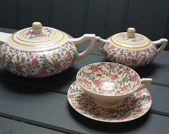 Antique French Art Deco tea set,  floral transferware. tea pot, tea cup and sugar bowl.