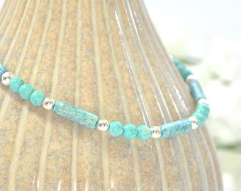 Blue Ankle Bracelet Adjustable Light Blue Anklet Minimalist Anklet Beaded Ankle Bracelet Handmade Jewelry