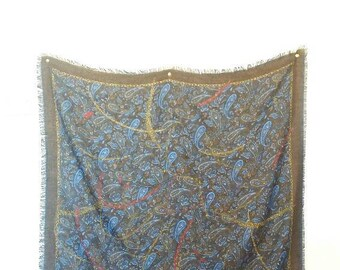 Paisley Print Scarf Vintage Bandana Paisley Pattern Blue and Brown Women's Lightweight Scarf Vintage Scarves Paisley Pattern Blue Brown