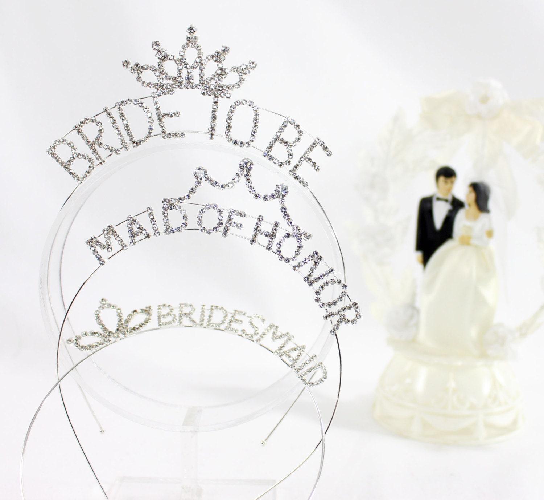 Wedding Party Crystal Silver Headband Tiaras. Bride to Be