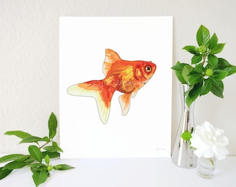 Goldfish Art Print, Goldfish Painting, Koi Art Print, Goldfish Memorial, Fish Gift, Orange and White Decor, Pet Fish Art, Goldfish Wall Art