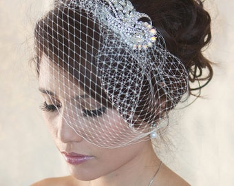 Wedding Birdcage Veil with Crystal rhinestone brooch VI0101. Ready to ship. Christmas gift for her.
