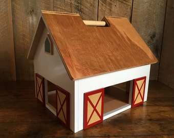 Kids Hardwood Toy Barn with Handle -SHIPS 1-3 Days-