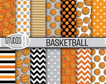 BASKETBALL Digital Paper: Basketball Printable Pattern Print, Basketball Download, 12 x 12 Basketball Backgrounds Basketball Scrapbook