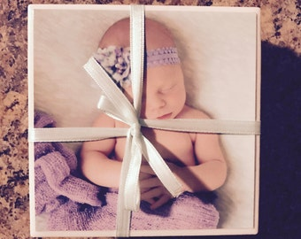 Photo Coasters  Custom Picture Coasters - Christmas Gifts, Anniversary Gifts, Baby/Bridal Shower, Mother's/Father's Day, Birthday