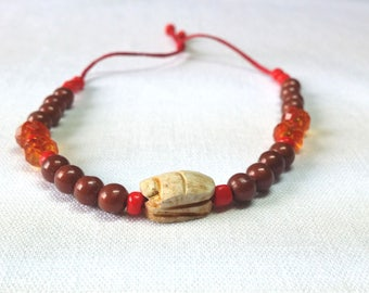 Vintage Bracelet Scarab beetle African Amulete bracelet against Evel eyes Wooden Boho style