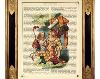 Alice in Wonderland Art Print Queen of Hearts Flamingo Croquet color - Vintage Victorian Book Page Art Print Steampunk