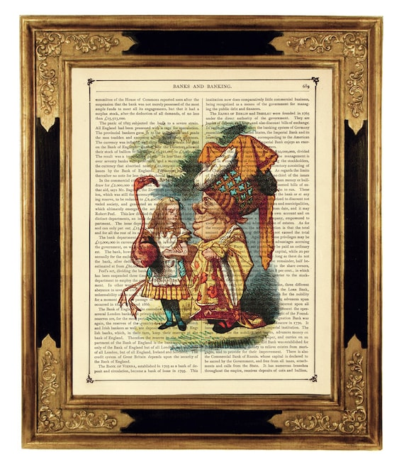 Alice In Wonderland Art Print Queen Of Hearts Flamingo Croquet