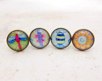 Buy 3 get 1 free, flower ring, dragonfly ring, butterfly ring, bee ring,  natural jewelry