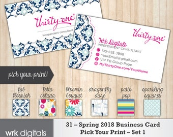 Thirty One Business Cards, Spring 2018 Prints, Pick Your Print Custom Business Card, Direct Sales, Thirty One Consultant, PRINTABLE