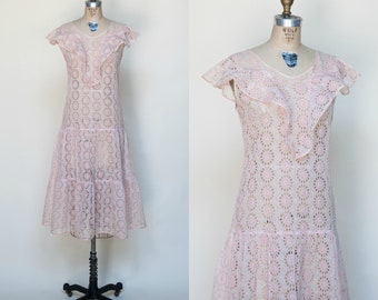 1920s Pink Lace Dress --- Vintage Art Deco Dress