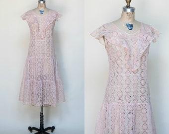 1920s Pink Lace Dress --- Vintage Art Deco Dress
