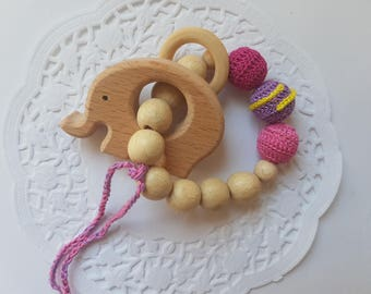 Baby girl teething toy gift for girl wooden teether natural teething toy organic toy baby girl gift toddler toy wooden rings toy wood toy