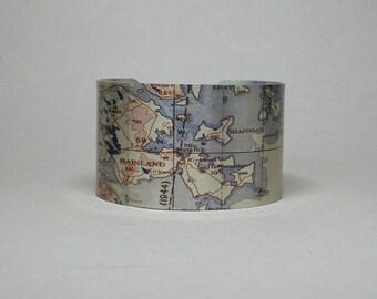 Orkney Scotland UK Northern Isles Cuff Bracelet Vintage Map Unique Travel Gift for Men or Women