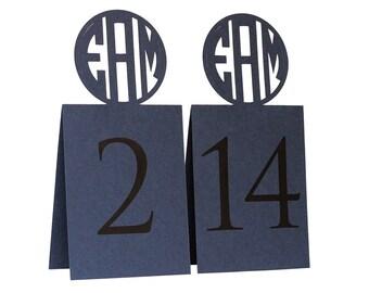 Circle Monogram Table Numbers - custom cutout initials