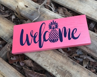 pineapple welcome sign, pineapple wood sign, welcome sign, pineapple sign