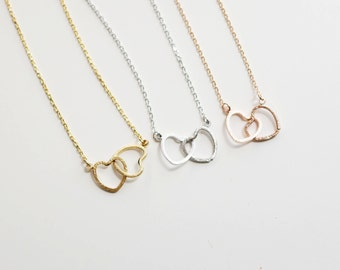 Two hearts necklace in Silver, Double hearts necklace, Silver entwined hearts, Rose gold filled chain, twin hearts, dainty petite simple