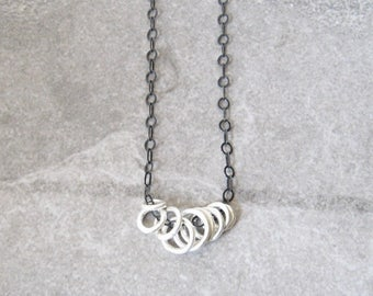 oxidized silver rings necklace, fine silver fused rings, sterling chain, silver jewelry, metalwork