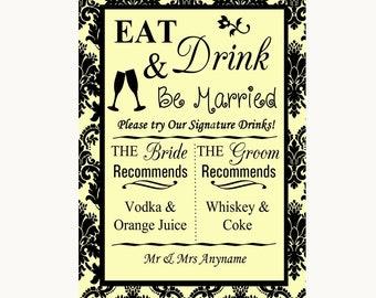Yellow Damask Signature Favourite Drinks Personalised Wedding Sign