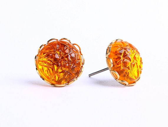Topaz orange baroque jewel hypoallergenic surgical steel post earrings READY to ship (453)
