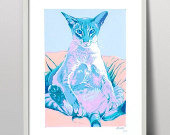 Siamese cat art - cat serigraph - cat art - cat print  - cat painting - cat screenprint  - oriental cat - kitty print - cat artwork - cat