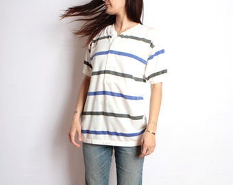 90s striped OXFORD soft SPRING t shirt top t-shirt white blue black stripes