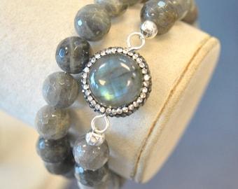 LABRADORITE 2IN1 - labradorite and Swarovski Crystals double bracelet or a choker