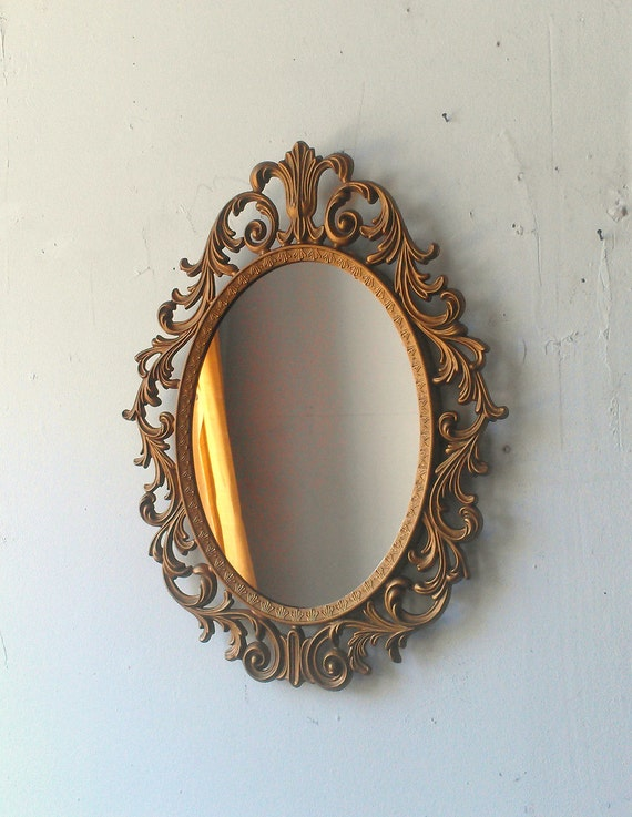 Baroque Mirror In Deep Gold Vintage Oval Frame Vintage Ornate