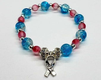 Miscarriage Awareness Bracelet, Infertility Hope, Pink and Blue Bracelet, Infertilty Awareness, Baby Loss, Pregnancy and Infant loss, SIDS