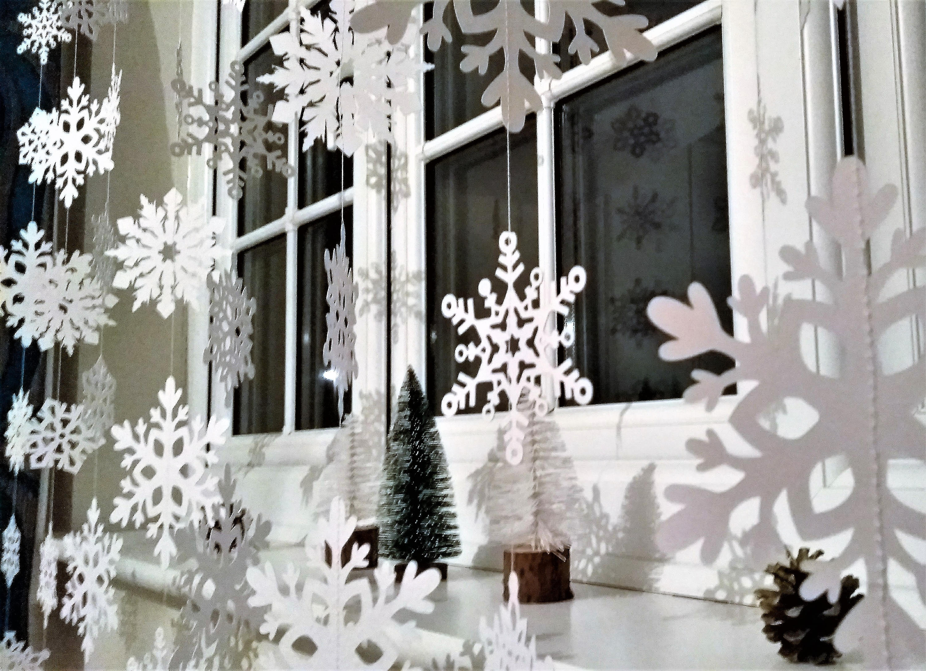 christmas home decoration pinterest white christmas snowflake garland christmas decorations 10597