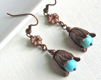 Turquoise Copper Flower Bud Earrings - Turquoise Earrings, Floral Jewelry, Nature Jewelry, Silver Copper Earrings