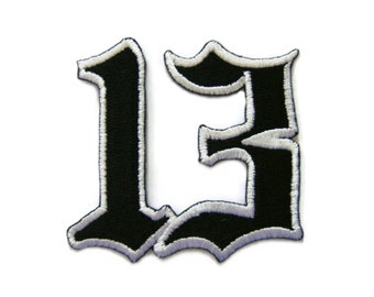 Lucky Number 13 Thirteen Embroidered Applique Iron on Patch 6.1 cm. x 5.8 cm.