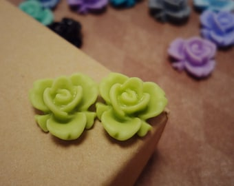 20pcs (Matte Medow Green) Rainbow Iris Rose -CMVision Exclusive-11.5mm Resin Flower RF05 -12