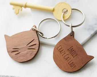 Personalised Cat Lady Keyring
