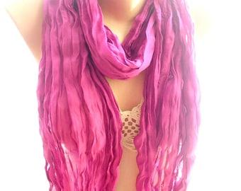 Purple scarf, crinkle purple scarf, scarves for women, cozy scarf, trendy scarf