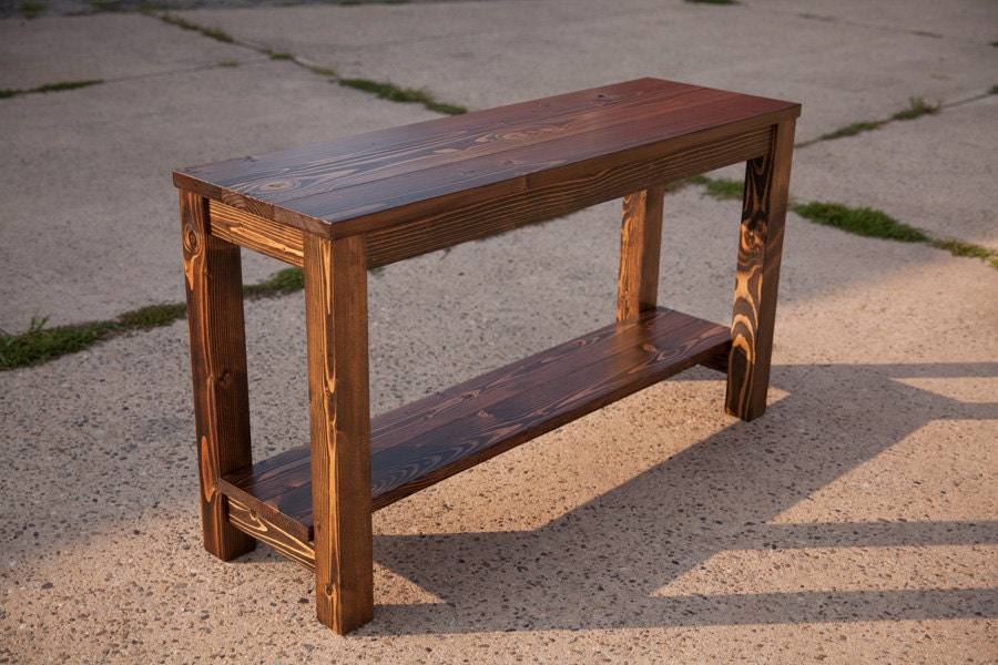 48 sofa table solid wood farmhouse sofa table for Solid wood farmhouse table