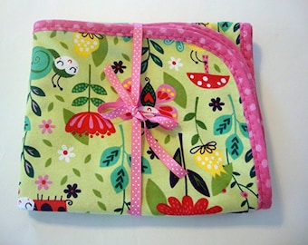 Baby Blanket Handmade Receiving Blanket Flannel Lady Bug Fabric Blanket for Baby Ready to Ship
