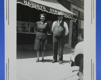 Chicago Heights News Agency Building Awning 1940's-1950's Couple Photo Snapshot 15956