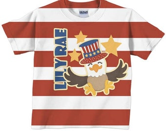 4th of July T-Shirt Stars and Stripes Shirt, Personalized Childrens Patriotic Clothing