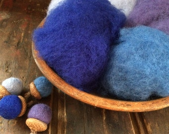 Needle Felting Wool-Skies Are Blue Wool Sampler-Wet Felting Wool