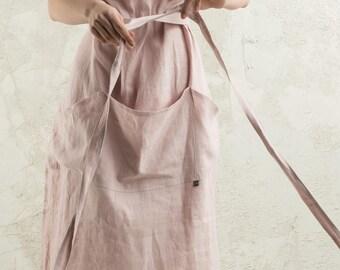 Linen apron women, 15 colors, Long linen apron, Full apron women, Dusty rose apron, Light pink apron, Linen women's aprons, Kitchen apron