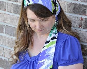 Women's Purple multi Stretch Hair Wrap, head scarf, Headband, Hair Tie, Headcovering, headscarf, Head Covering, hair scarf head band