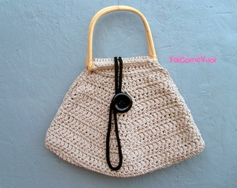 Crochet handle bag with bamboo handles