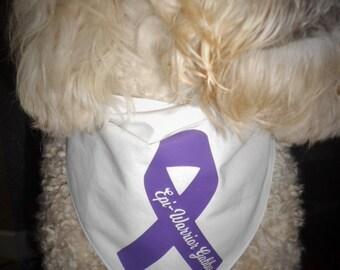 Canine epilepsy bandana, lupus, alzheimers, cancer ribbon, Epi-Warrior bandana, awareness ribbon, Find The Cure, Cancer Survivor, lymphoma