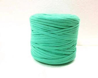 Chunky yarn, Sea green t shirt yarn, Cotton T-Shirt yarn, Tricot yarn for bag, Tshirt yarn for rug, Zpagetti yarn, 5 meters
